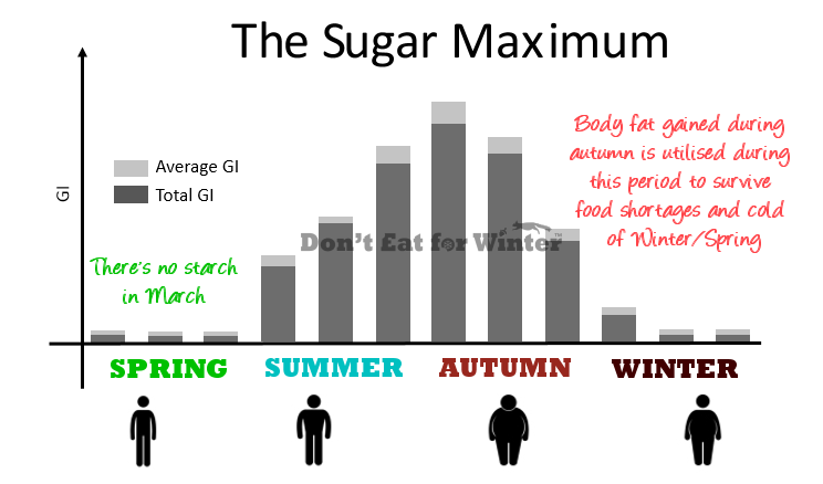as you can see from the diagram, the sugar maximum peaks during late  summer/autumn time, sometime in september according to my calculations but  is yielding